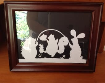 Paper Cutting Scherenschnitte Animal Trio Framed