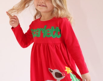 Toddler Christmas Dress - Personalized Christmas Dress- Reindeer Appliqué Dress