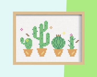 DIY Cactus - cacti / embroidery Cross Stitch .pdf / Instant Download