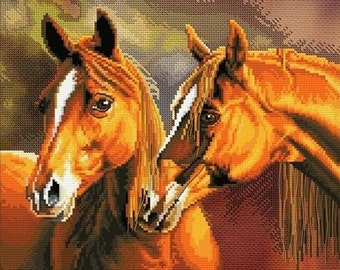 NEW UNOPENED Counted Cross Stitch Kit Nova Sloboda CB3067 Devotion of hearts HORSES