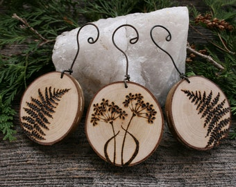 Woodland Ferns and Flowers  Ornaments - Set of 3 - Woodburning