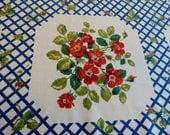 "Pretty 1950s Vintage Cotton Tablecloth Red Roses, Blue Trellis Floral Design 47"" x 50 3/4"""