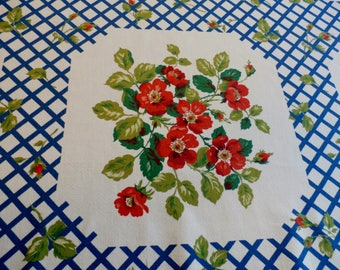 "Pretty 1950s Vintage Cotton Tablecloth Red Roses, Blue Trellis Floral Design 47"" x 50 3/4"""
