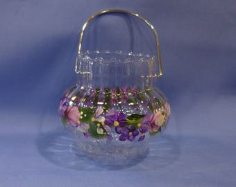 Hand Painted Glass Votive Pink Roses Purple White Flowers Daisies Hydrangeas Swing Handle