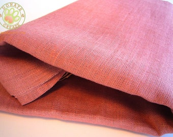 Linen fabric remnants Sale! Thick rustic linen flax out cuts for home decor & sewing projects; Homespun-like pink rose color pure linen;