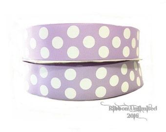 100 Yds WHOLESALE 1.5 Inch Lavendar Jumbo Polka Dot grosgrain ribbon LOW SHIPPING Cost