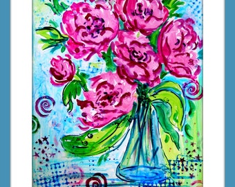 Watercolor Roses, Watercolor Yupo, Watercolor stamping, Swirls and Dots, Pink Lime Green Blue, Abstract Watercolor, Martha Kisling