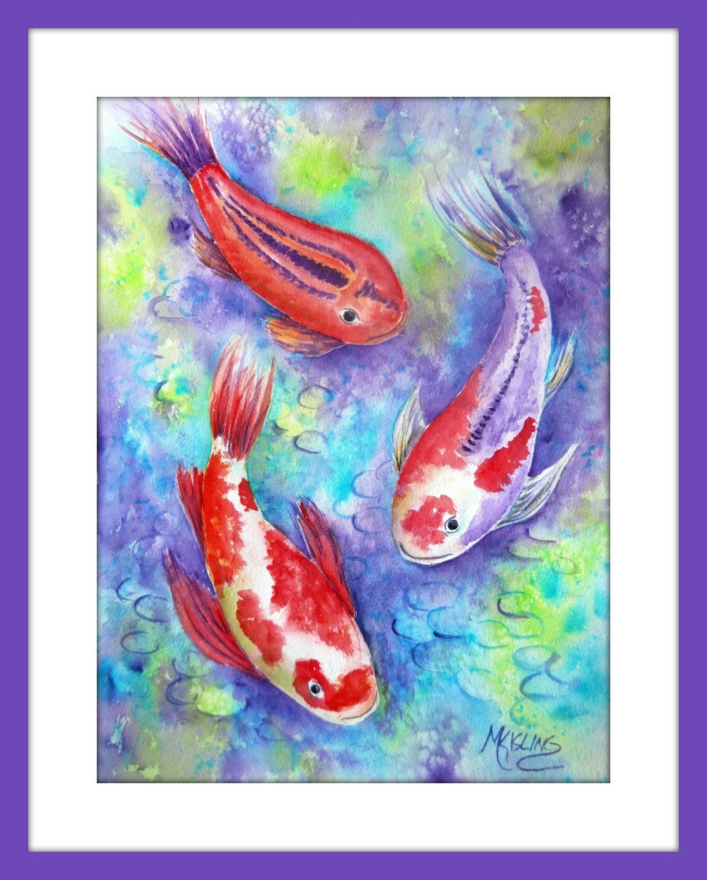 Colorful koi fish koi watercolor koi art zen art purple for Colourful koi fish