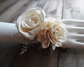 Ships in 5 days ~~~ Sola Flower Wrist Corsage, Ivory Sola Flowers, Burlap and Greens with a Jute Ribbon Tie.