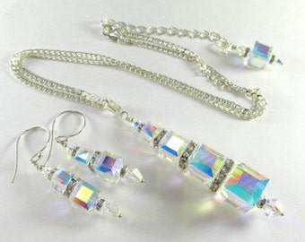 Swarovski Crystal AB Graduated Size Cube Necklace and Earring Set on Sterling Silver
