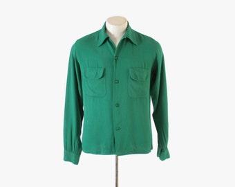 Vintage 50s MEN'S SHIRT / 1950s Rockabilly Gren Rayon Gab Loop Collar Shirt S - M