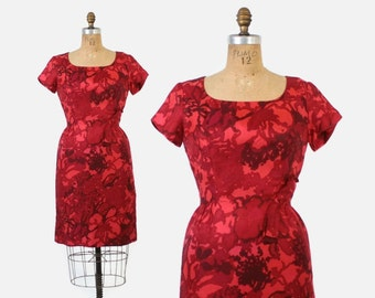 Vintage 50s SILK Dress / 1950s Rose Red Floral Print Silk Wiggle Dress M
