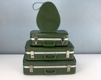 Vintage Green Suitcase Set, Luggage Sets, Mini Suitcase, Small Suitcas, Round Suitcase, Vintage Travel, Stackable Storage