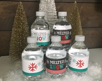 Melted Snow Water Bottle Instant Download Labels by Beth Kruse Custom Creations