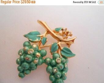 """ON SALE Vintage brooch, grapes brooch, signed """"JoJo"""" brooch, turquoise enamel brooch, crystal brooch"""