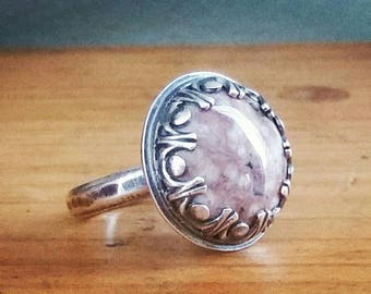 Rustic Agate Crown Ring