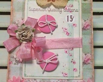 Shabby Birthday Card, Vintage Style, Handmade Card, Embellished Card,Greeting Card, OOAK