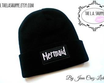 Black Mermaid Beanie in Lavender Print