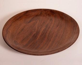 Turned Wood Plate, Black Walnut, Salad Plate, Serving Plate, Handturned
