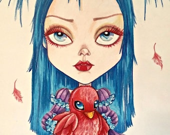 Olive and The Red Bird Fantasy Lowbrow Pop Surrealism 8.5 x 11 Art Print