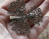 6 pcs of Big New style Antique Bronze flower bobby pins,filigree flower bobby pins,findings
