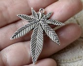 10 pcs  Charms Large Marijuana Leaf Pendant Antique silver Tone, Pendant Charms Fingdings pendant,jewelry pendant finding