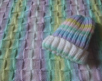 Hand Knitted Dolly Hat and Blanket Acrylic Baby Yarn