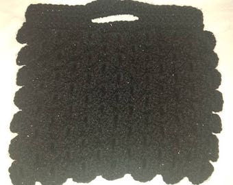 wool crochet black glitter small handbag scale stitch  bag summer game of thrones dragon toothless