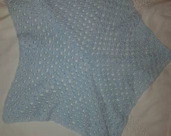 Baby pale blue 2 toned star shape baby comfort blanket glitter wool vegan crochet handmade blanky