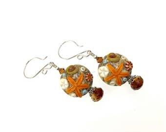 Starfish Earrings, Ocean Seashell Earrings, Beach Lampwork Earrings, Nature Glass Bead Earrings, Beach Jewelry, Brown Dangle Drop Earrings