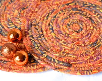 Rustic Home Decoration, 2 Trivets, Fall Place Mats, Handmade Halloween Hot Pads, Table Mats, Potholders, Country Western Batik Mug Rugs