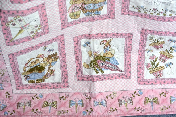 Girl Pink Quilt, Handmade Baby Quilt, Cute Spring Baby Quilt, Pink Picnic Blanket, Baby First Quilt, Shower Gift