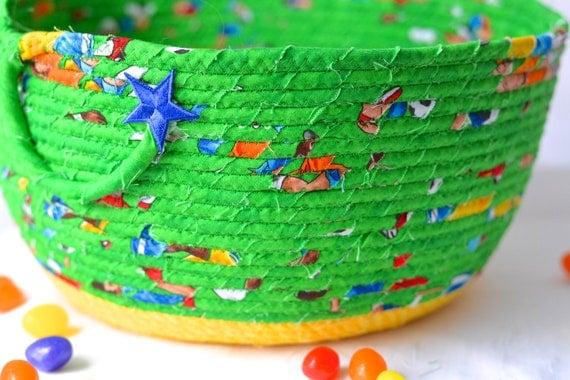 Green Easter Basket, Handmade Easter Bucket, Cute Toy Storage Bin, Boy Lego Storage Bin, Crayon Holder, Fun Easter Egg Hunt Bag