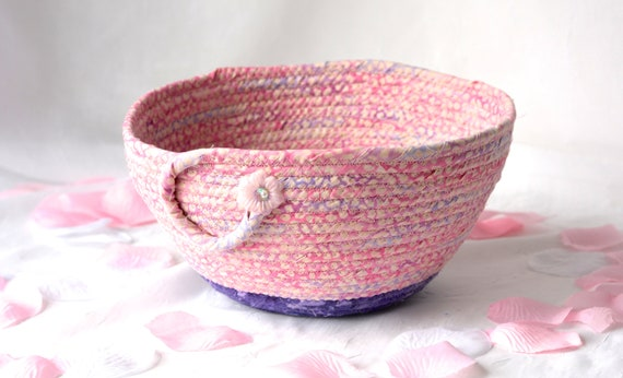 Handmade Pink Basket, Pink and Purple Bowl,  Pink Soft Pottery Basket, Decorative Grape and Pink Bowl, Napkin Holder Basket