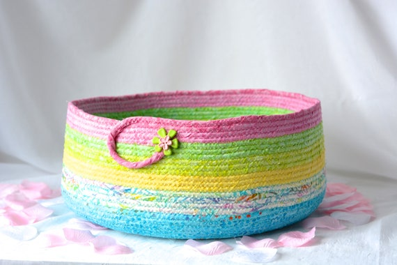 Gorgeous Rainbow Basket, Handmade Batik Cat Bed, Dog Bed Furniture, Modern Cotton Nursery Bin, Beautiful Batik Fabric Basket