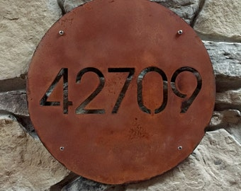 CUSTOM Minimalist Circle House Number Sign in Rusted Steel