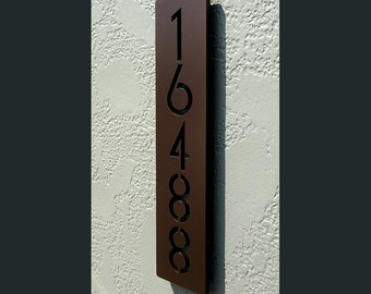 Custom Euro Floating House Numbers Vertical in Powder Coated Aluminum