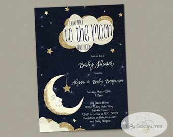 Love You to the Moon and Back Baby Shower Invitation | Midnight Sky, Starry Night, Twinkle Twinkle Little Star | INSTANT DOWNLOAD