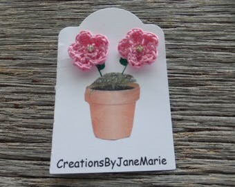 Crocheted Flower Earrings, Crocheted Flowers, Stud Earrings, Pink Crocheted Flowers