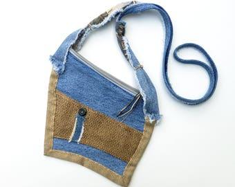 Denim Forever Flat Mini Bag, a Passport Style Bag by Vic Von Pip