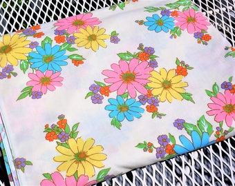 Flat Twin Sheet Cannon Monticello Floral No - Iron Muslin Pink Blue Yellow Flowers 70s Flower Power Flat Twin Bed Sheet