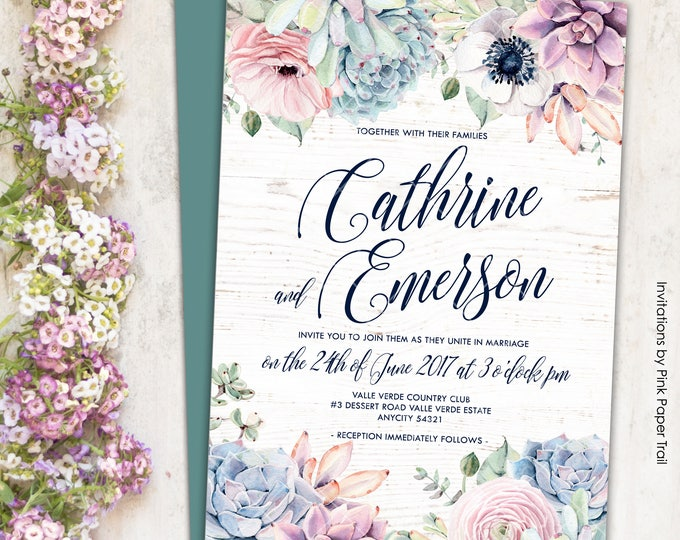 Sweet Rustic Boho Floral Succulent Wedding Invitation Suite, Succulent Protea Cactus Printable Wedding Invitation Suite Wedding Package