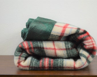Vintage Plaid Wool Blanket Forest Green and Red Plaid with Green Satin Binding 68 X 87 Double Bed Weighted Blanket