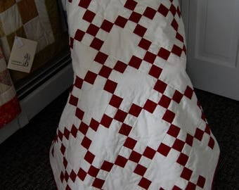 Traditional Irish Chain, Barn Red, Hand Quilted, Lap Quilt, Baby Quilt