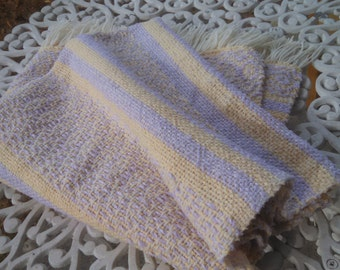 FREE Matching Baby Cap Woven Lavender and Soft Butter Yellow Baby Blanket or Lap Throw by canfieldcreations