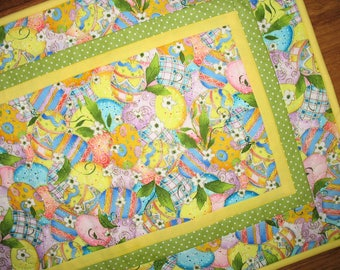 Easter Table Runner, Easter Eggs, quilted table runner, metallic