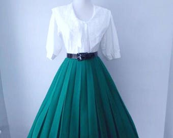 VINTAGE 1950s 1960s Turquoise Teal Green Accordion Style Pleated Full Skirt