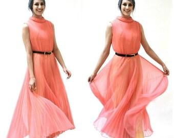 ON SALE 70s Vintage Jump Suit Size Large Coral Pink Pleated Palazzo Pants Disco Jumspuit// VIntage Chiffon Jumpsuit Coral Pink Size Large