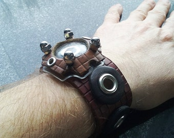 Time Portal Leather Cuff