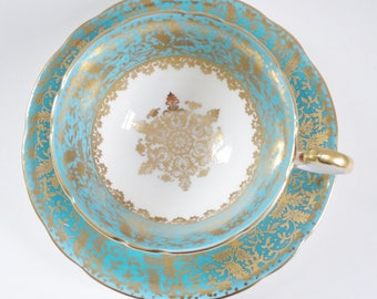 Vintage Aynsley Tea Cup and Saucer Set, Turquoise w Gold Snowflake Medallion, Vintage Teacup & Saucer, Aynsley Heavy Gold Gilt Teacup Set